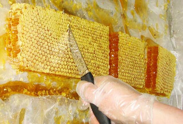 Sáp ong chứa đầy mật ong bạc hà rất bắt mắt