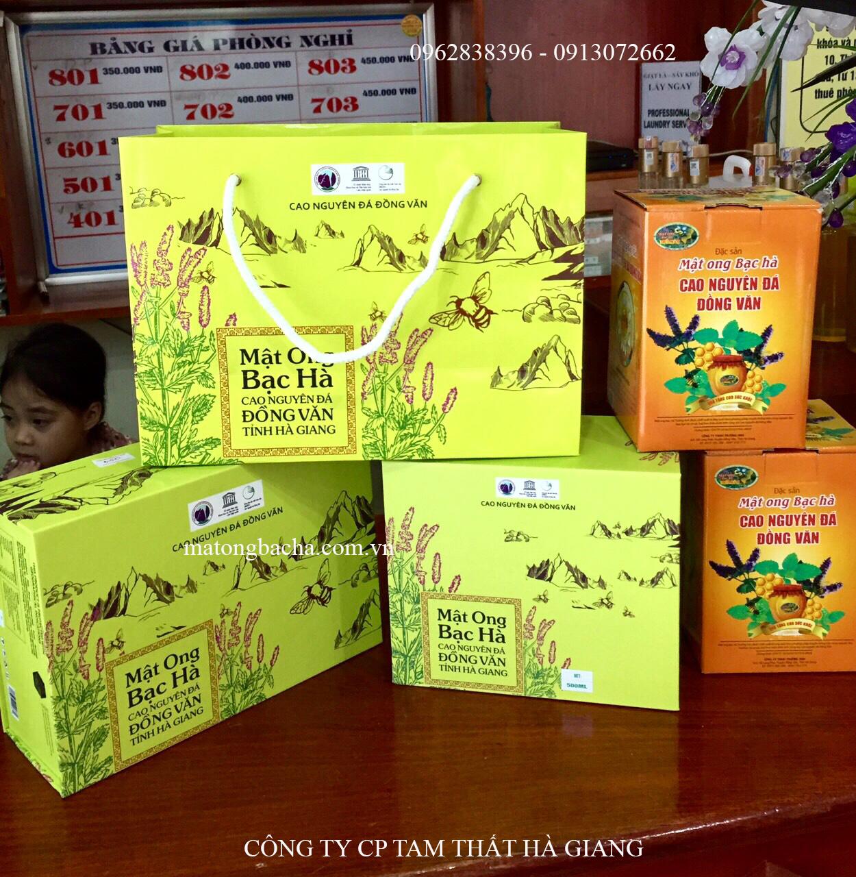 Sản phẩm hộp quà tặng mật ong bạc hà cao cấp.